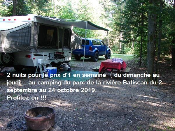 Camping 2 nuits pour le prix d'1 durant l'automne au parc de la rivière Bastican